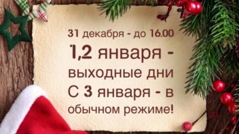 Режим работы в Новогодние праздники.